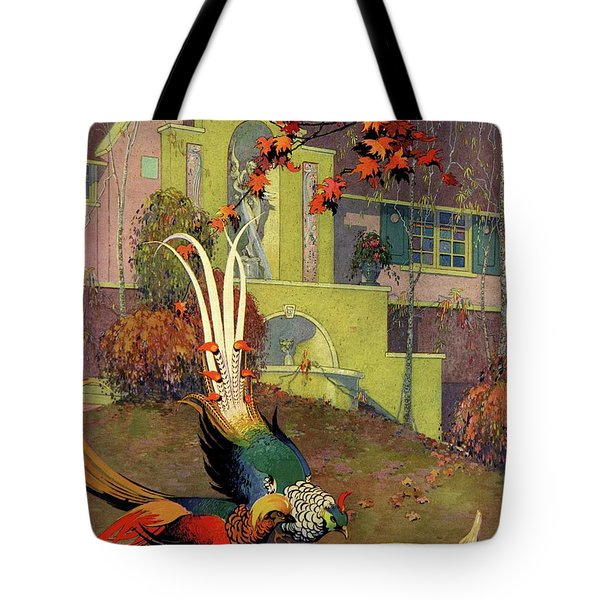 A House And Garden Cover Of Peacocks Tote Bag