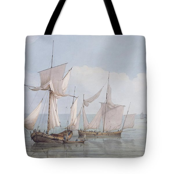 A Hoy And A Lugger With Other Shipping On A Calm Sea  Tote Bag by John Thomas Serres