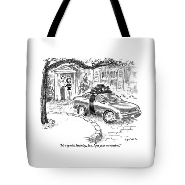A Husband And Wife Stand In The Doorway Looking Tote Bag