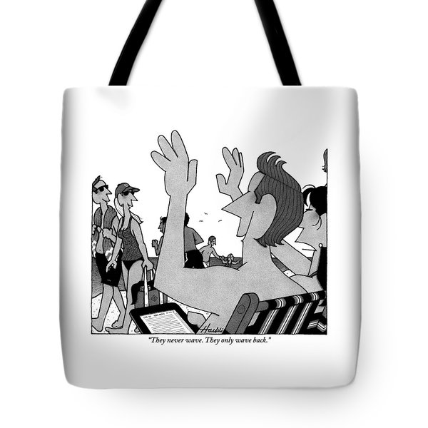 A Husband And Wife Wave To Another Couple Tote Bag