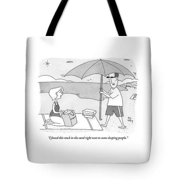 A Husband Returns To His Wife At The Beach Having Tote Bag