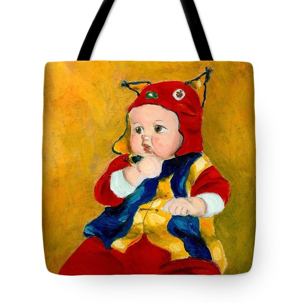 Tote Bag featuring the painting A Kid Wearing Two Cultural Traditions by Jingfen Hwu