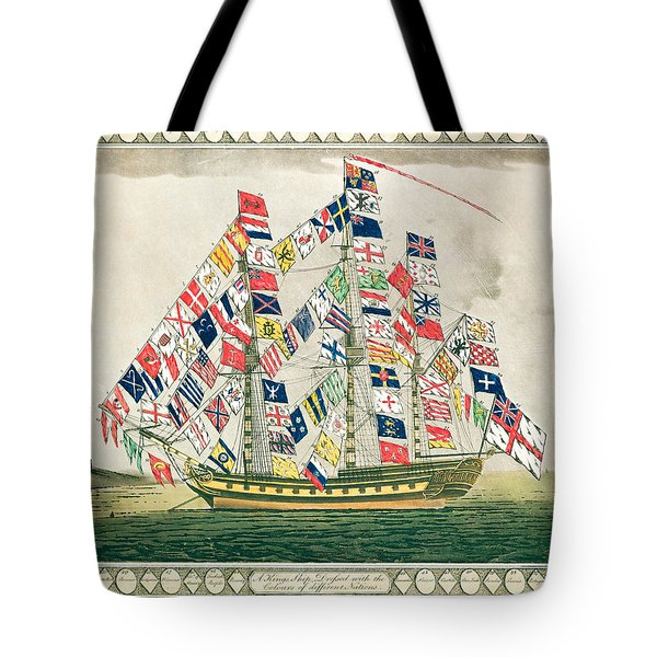 A King S Ship Dressed With The Colours Of Different Nations 6th October 1794 Tote Bag by English School