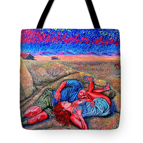Tote Bag featuring the painting A La Campagne/at The Country/ by Viktor Lazarev