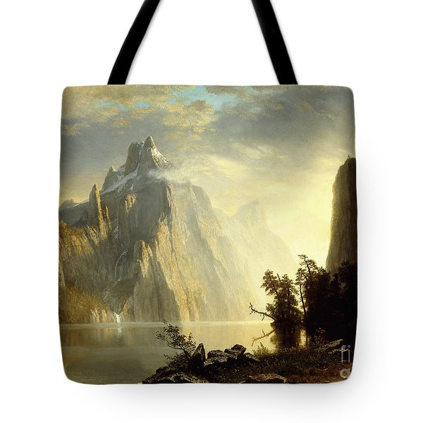 A Lake In The Sierra Nevada Tote Bag by Albert Bierstadt