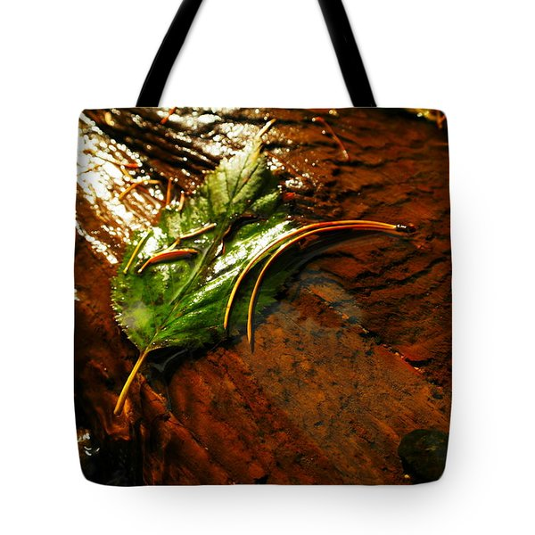 A Leaf Washed Over Tote Bag by Jeff Swan