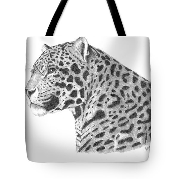Tote Bag featuring the drawing A Leopard's Watchful Eye by Patricia Hiltz
