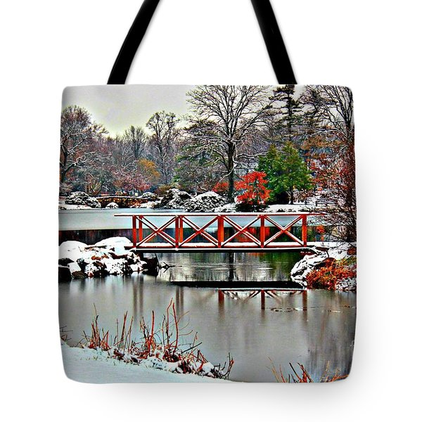 Tote Bag featuring the photograph A Light Dusting Of Snow by Judy Palkimas