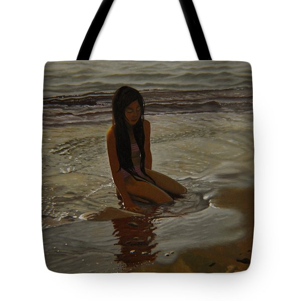 A Line Between Ocean And Sand Tote Bag by Thu Nguyen