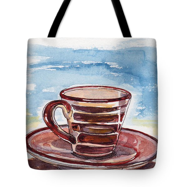 Tote Bag featuring the painting A Little Espresso by Julie Maas