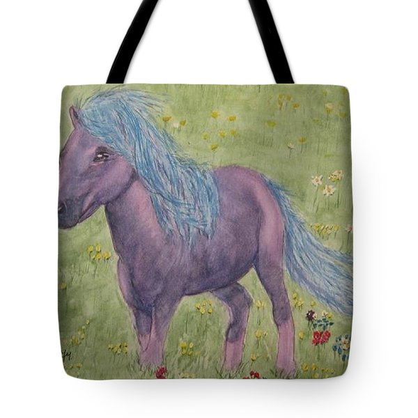 Tote Bag featuring the painting A Little Girls Imagination Pony by Kelly Mills