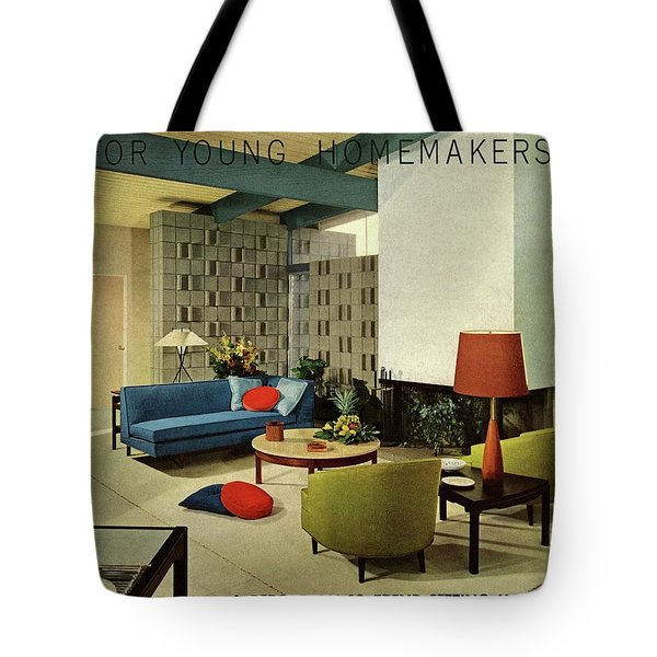 A Living Room With Carpeting By Callaway Tote Bag