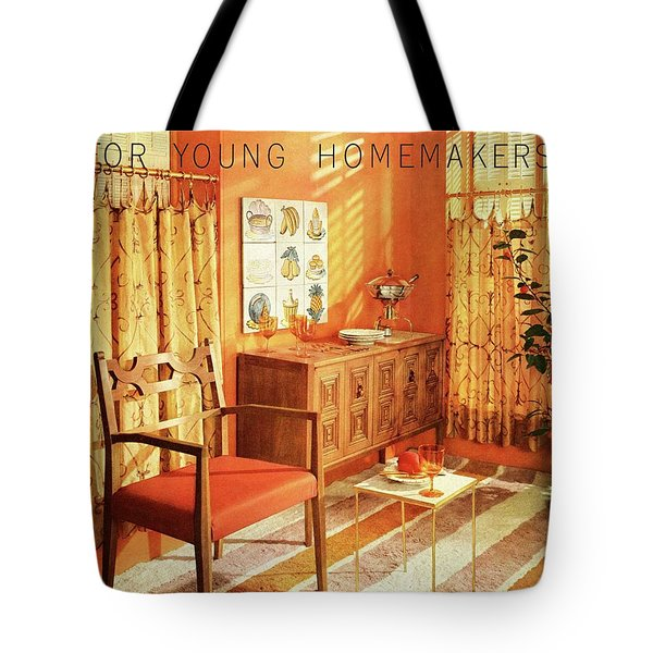 A Living Room With Furniture By Mt Airy Chair Tote Bag