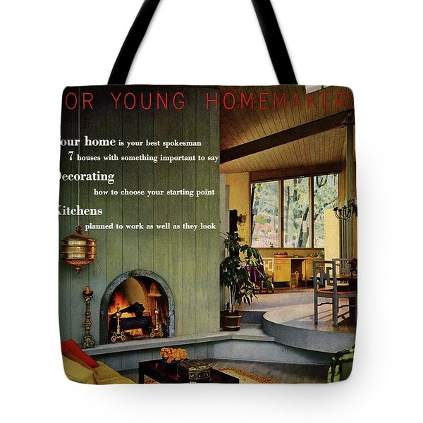 A Living Room With Sherwin-williams Wood-paneling Tote Bag