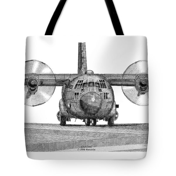 Tote Bag featuring the drawing A Lockheed C-130h Hercules by Arthur Eggers
