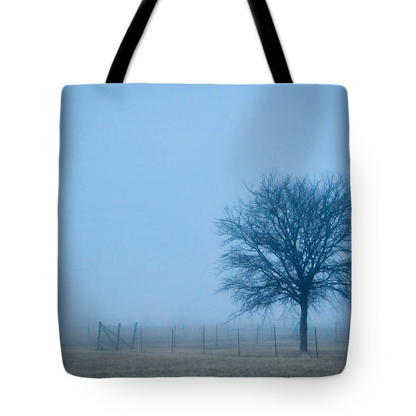 Tote Bag featuring the photograph A Lone Tree In The Fog by David Perry Lawrence