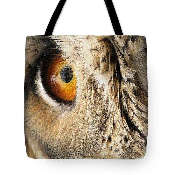Tote Bag featuring the photograph Bubo Bubo- Eurasian Eagle Owl. Close Up. by Ausra Huntington nee Paulauskaite
