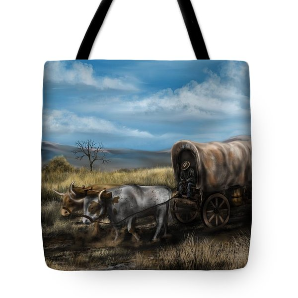 A Long Journey - Covered Wagon On The Prairie Tote Bag