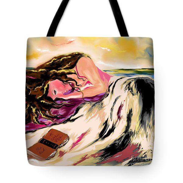 Tote Bag featuring the drawing A Love Story  by Lori  Lovetere