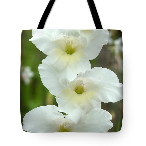 A Lovely White With A Hint Of Yellow Gladiolus Tote Bag by Kim Pate