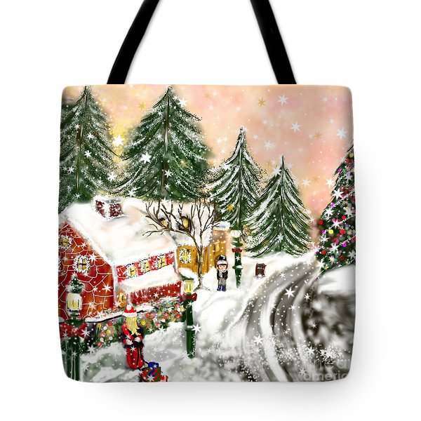 Tote Bag featuring the painting A Magical Frost by Lori  Lovetere