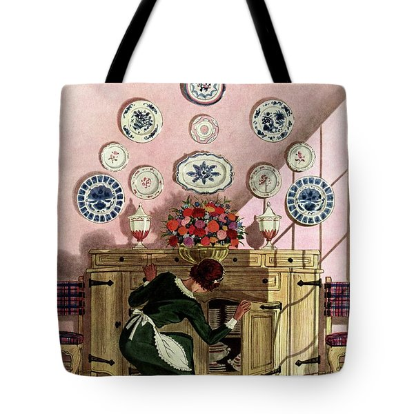 A Maid Getting China From A French Provincial Tote Bag