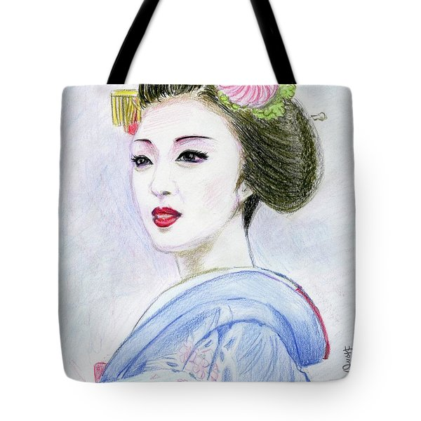 Tote Bag featuring the drawing A Maiko  Girl by Yoshiko Mishina