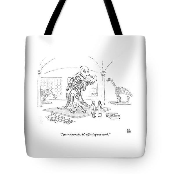 A Male And Female Paleontologist Tote Bag