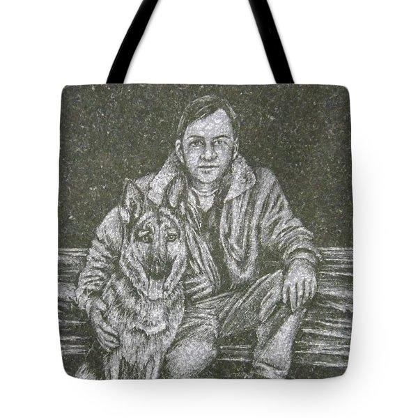 A Man And His Dog Tote Bag