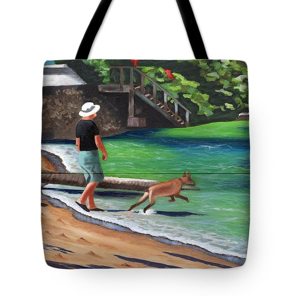 Tote Bag featuring the painting A Man And His Dog by Laura Forde