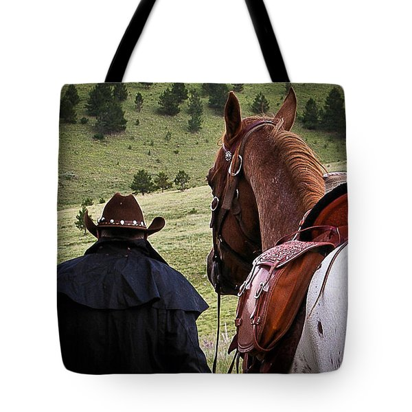 A Man And His Horse II Tote Bag by Steven Reed