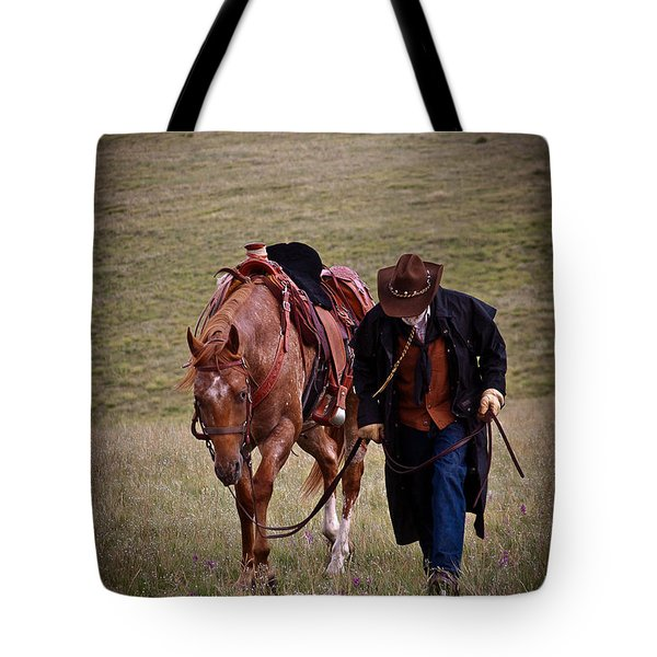 A Man And His Horse Tote Bag by Steven Reed
