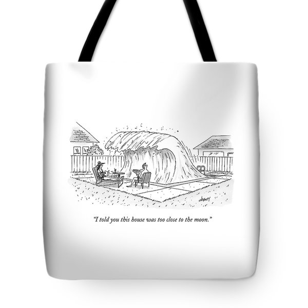 A Man And Woman Lounge In Their Yard Tote Bag