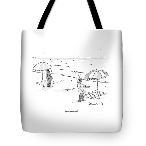 A Man Bundled Up In Winter Gear Departs Tote Bag
