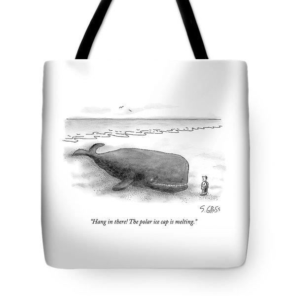 A Man Comforts A Beached Whale That Climate Tote Bag