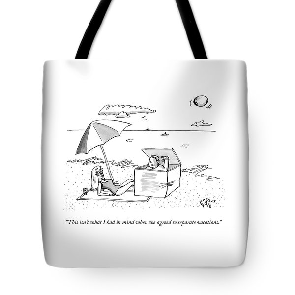 A Man Emerges From A Box On The Beach And Speaks Tote Bag