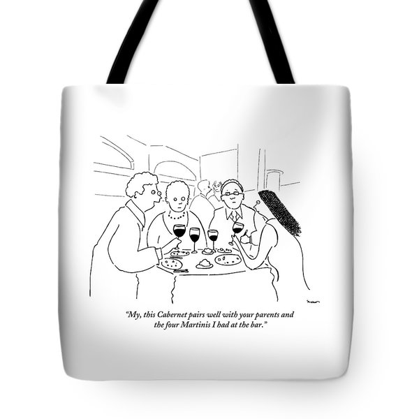 A Man Explains To His Wife In Front Tote Bag