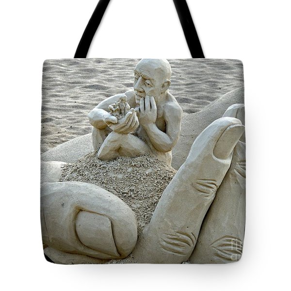 A Man In A Hand Tote Bag