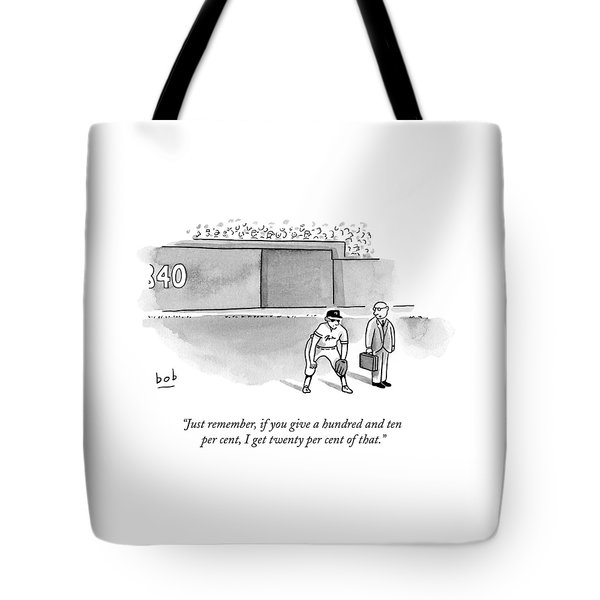 A Man In A Suit Stands Beside A Baseball Player Tote Bag