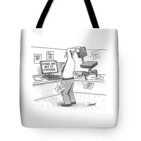 A Man In An Office Cubicle Holds A Chair Tote Bag