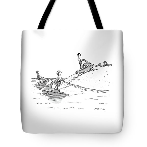 A Man On A Jetski Looks At Another Man Tote Bag