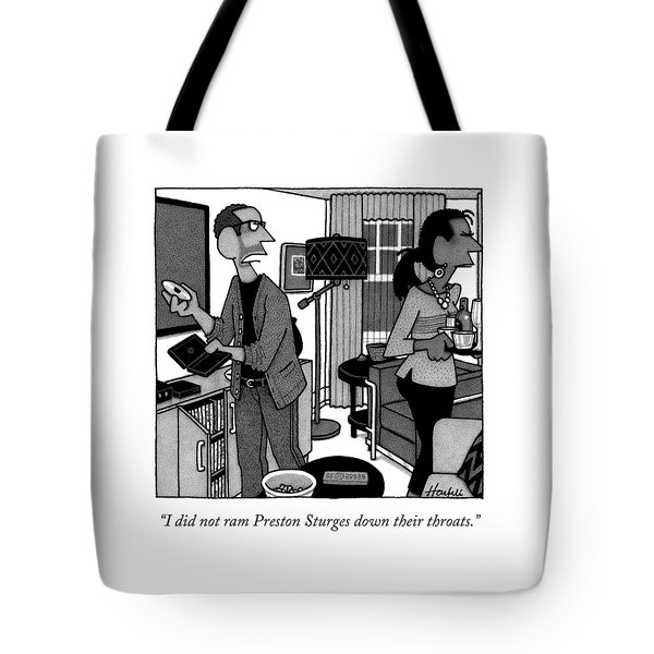 A Man Putting A Dvd In Its Cakse Speaks Tote Bag
