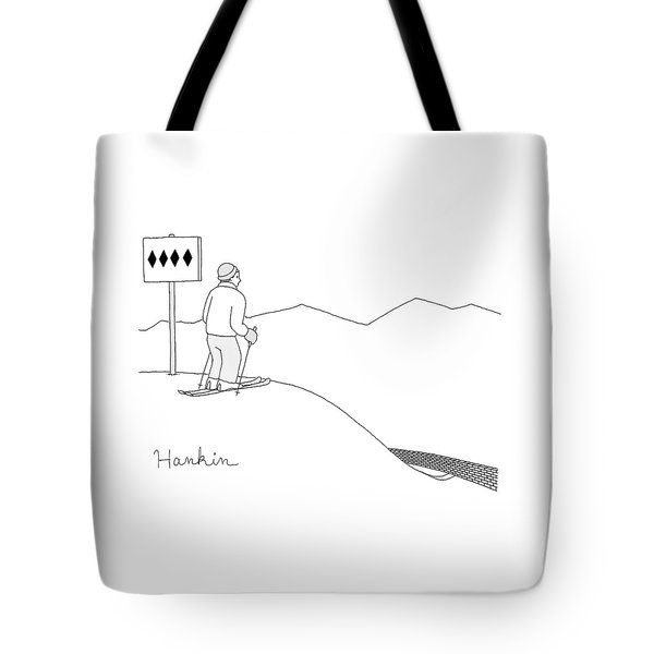 A Man Stands At The Top Of A Ski Slope Tote Bag