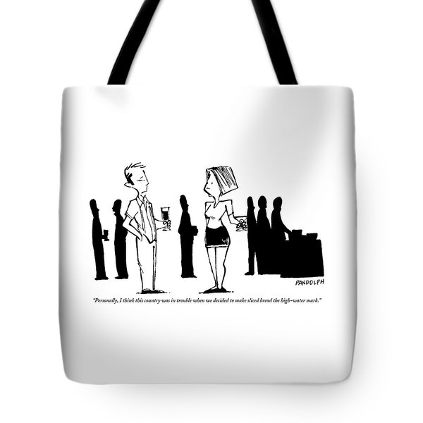 A Man Talking To A Woman At A Dinner Party Tote Bag