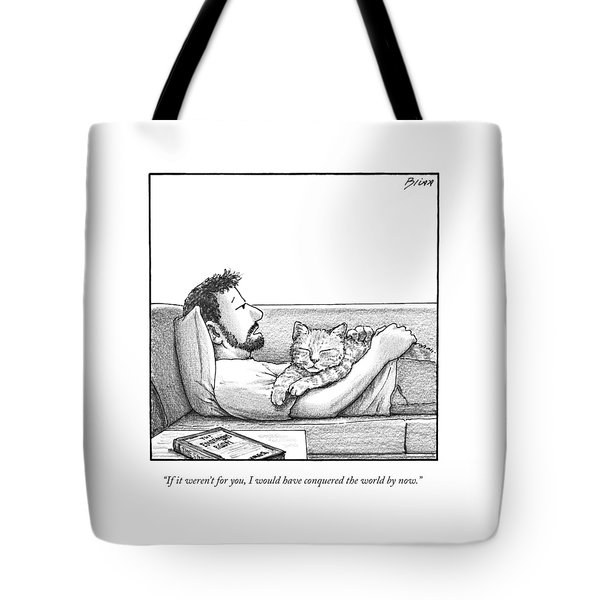A Man Talking To The Cat Lying On His Stomach Tote Bag