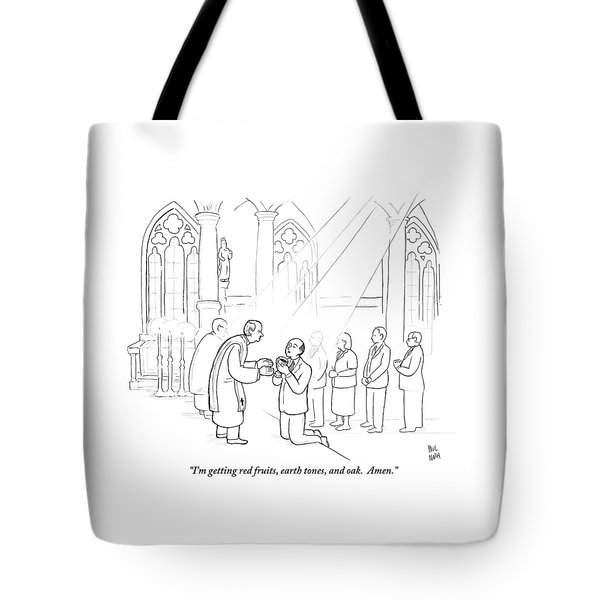 A Man To Priest As He Drinks The Wine Tote Bag