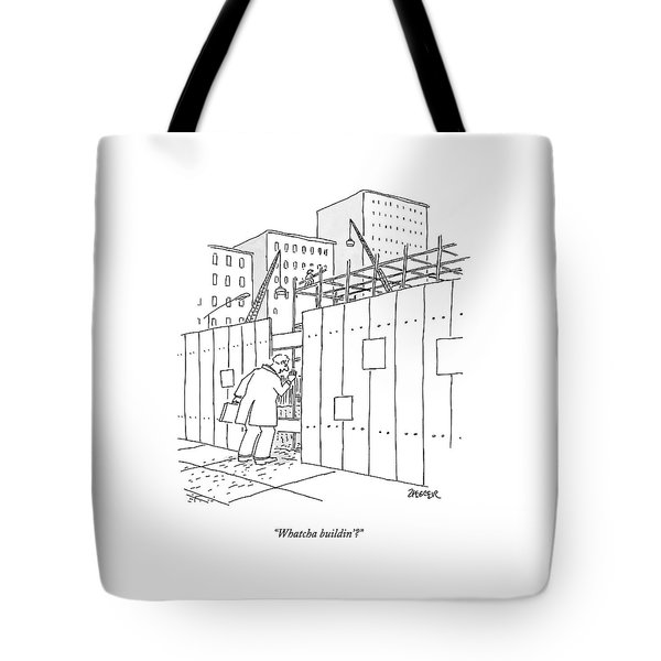 A Man With A Briefcase Looks Downwards Tote Bag
