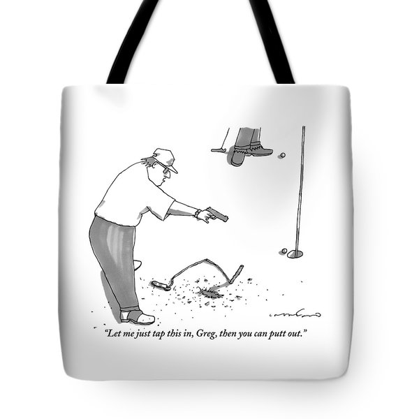 A Man With A Handgun Is Talking And Aiming Tote Bag