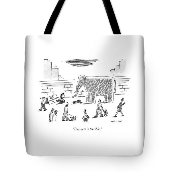 A Man With An Elephant Speaks On The Phone Tote Bag