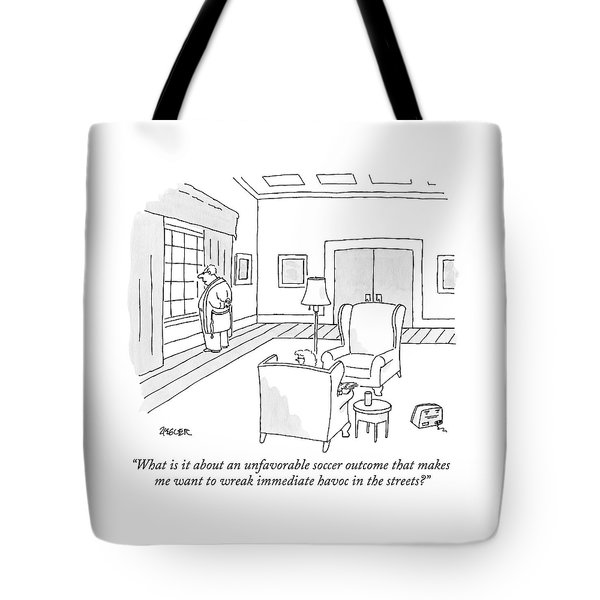 A Middle-aged Man In His Robe Gazes Tote Bag